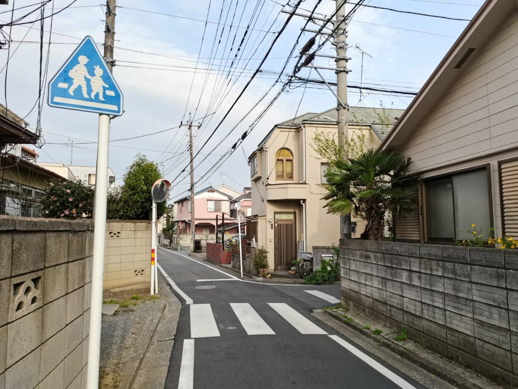 星野高校の前の道